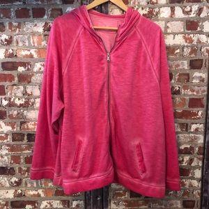 [Sonoma] Pink Zip-Up Sweatshirt Hoodie 1X